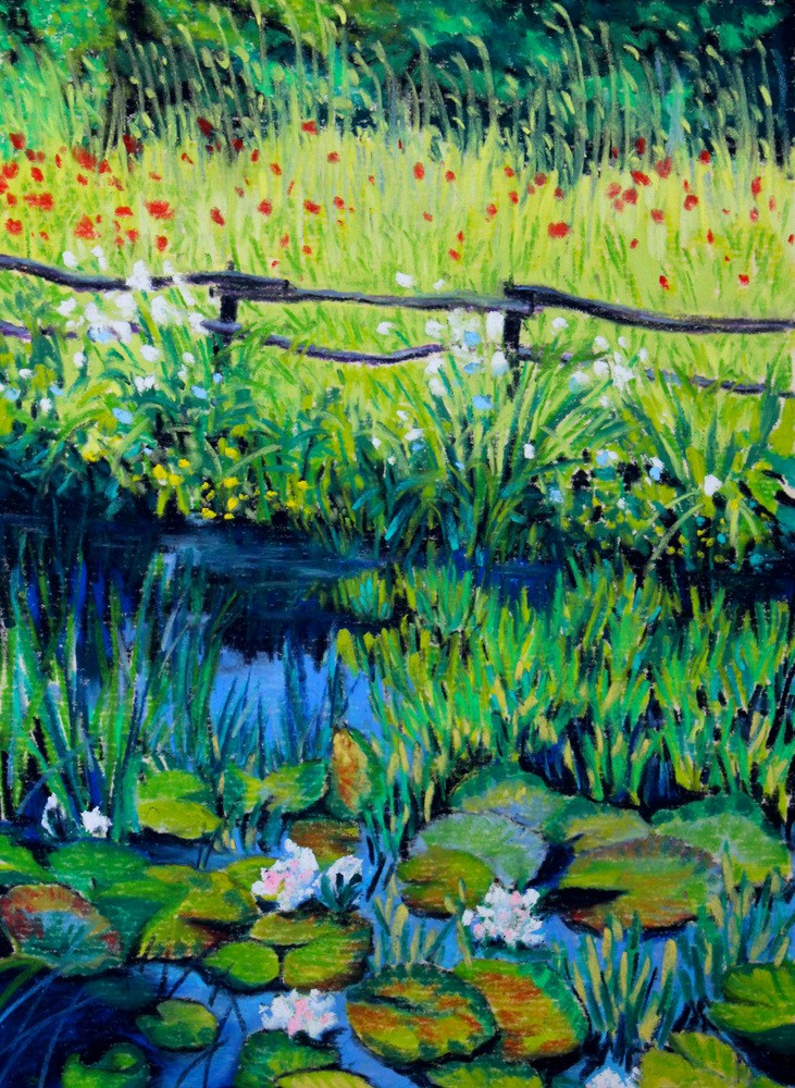 """Water Lilies & Wildflowers"" original fine art by Jill Bates"