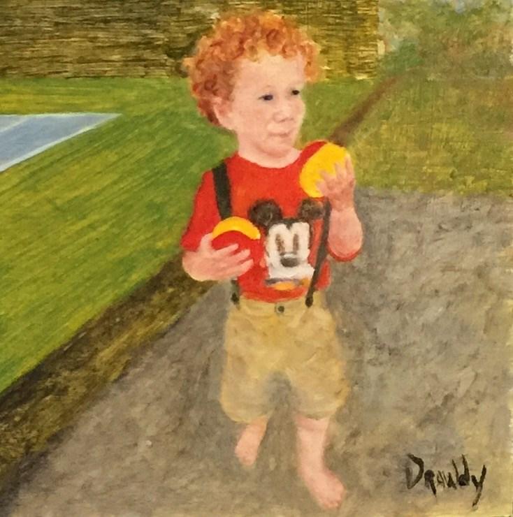 """""""Boy at Tennis Lesson"""" original fine art by Stephanie Drawdy"""