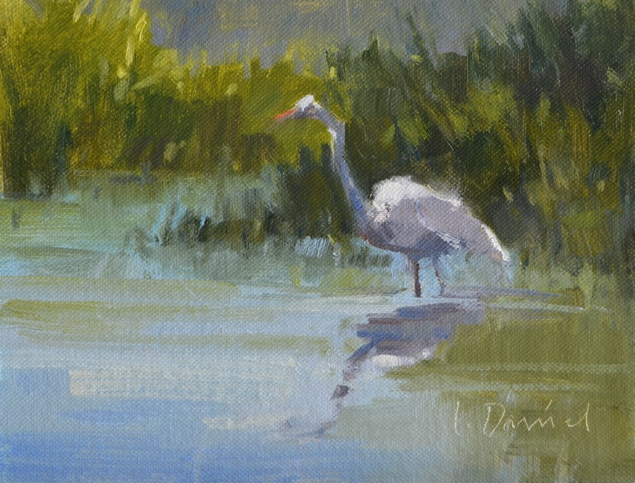"""Egret Reflections Study 1"" original fine art by Laurel Daniel"