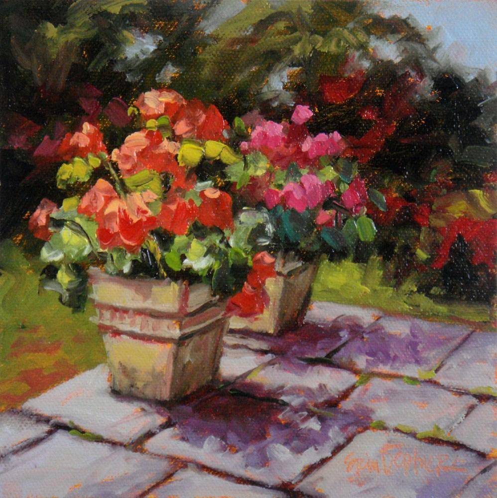 """""""Jumpin' Geraniums"""" original fine art by Erin Dertner"""
