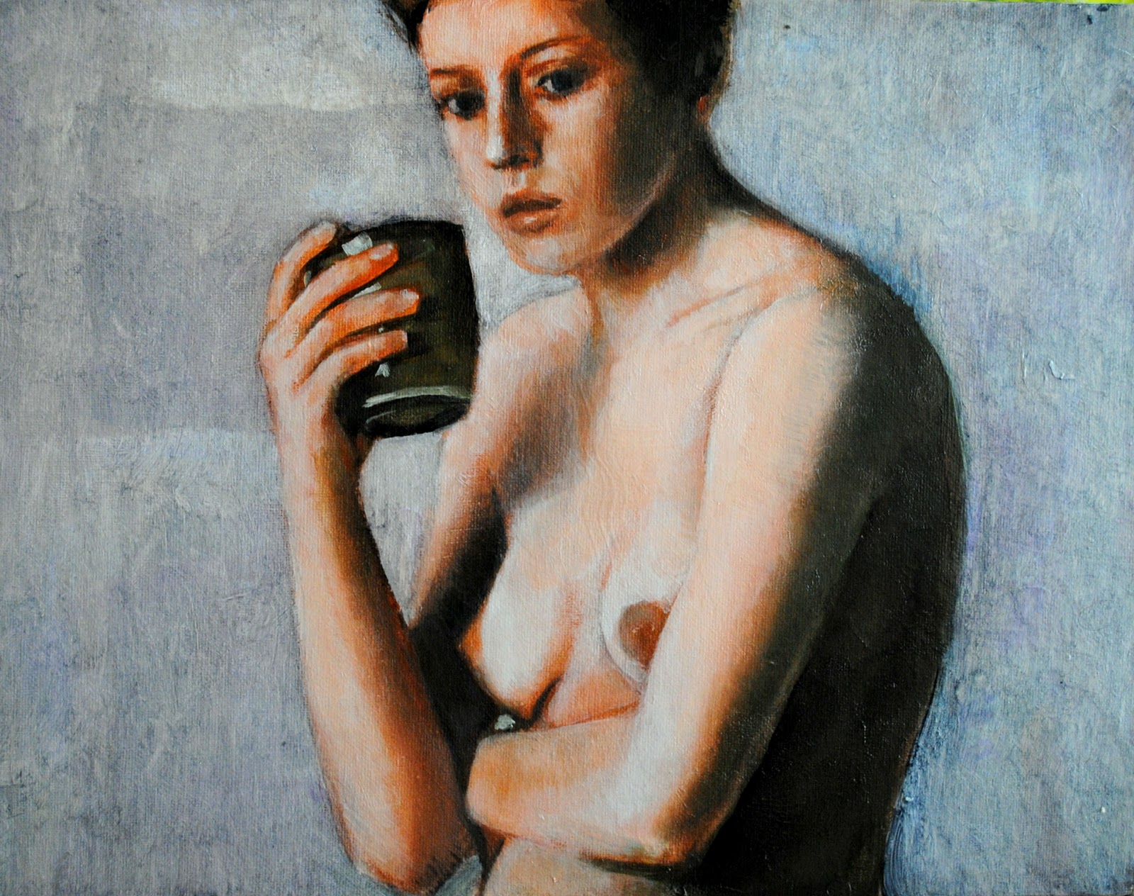 """Nude with Cup 12x16 oil on canvas in darkwood frame"" original fine art by David Larson Evans"