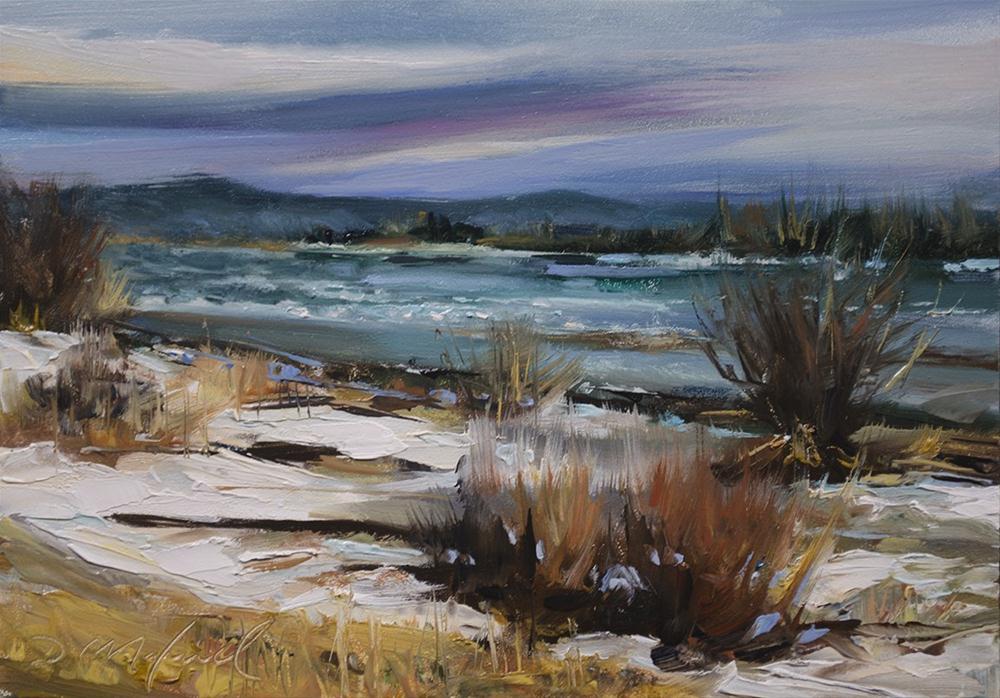 """River Ice Breakup"" original fine art by Denise Maxwell"