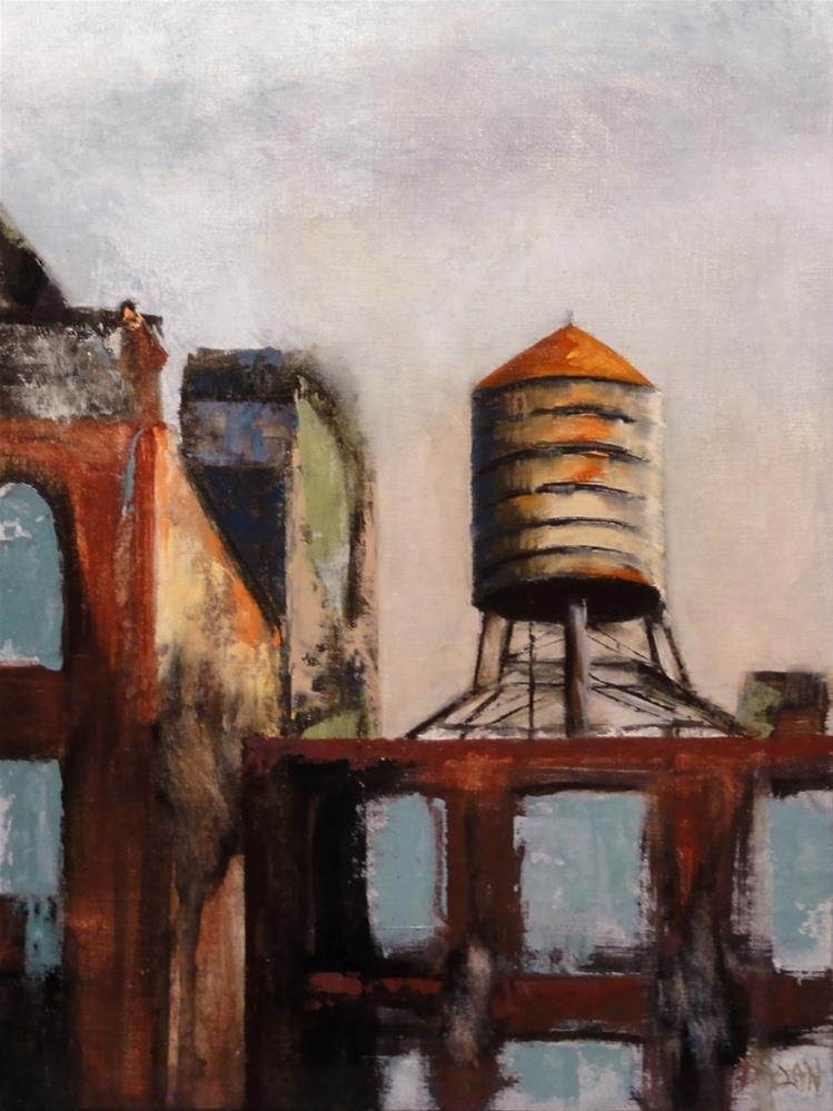 """Water In The Sky, Tribeca water tower NYC"" original fine art by Dalan Wells"