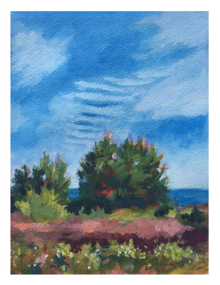 """Mackerel Sky At Lobster Cove"" original fine art by Suzanne Woodward"
