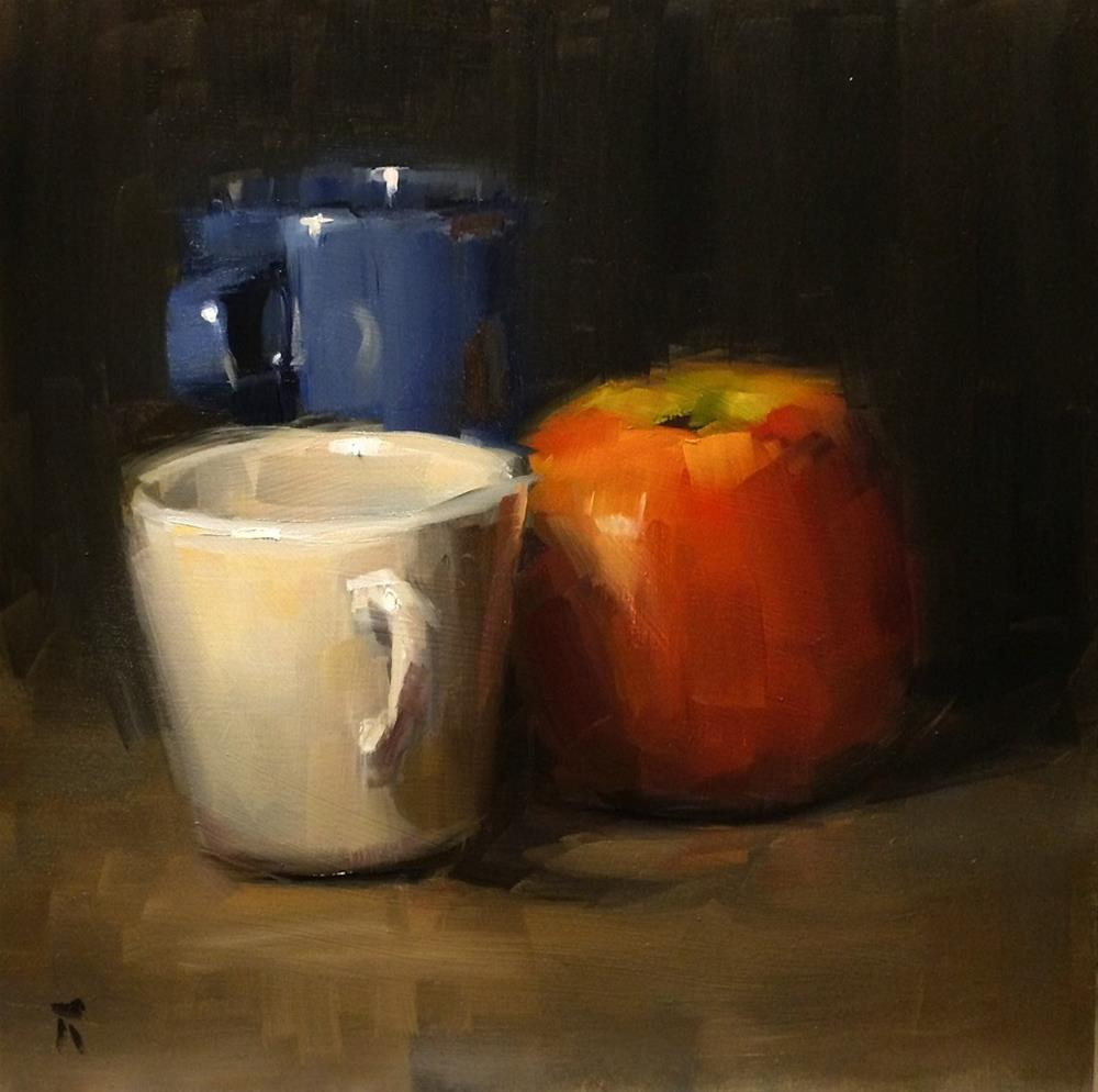 """Cups with Apple"" original fine art by Thomas Ruckstuhl"