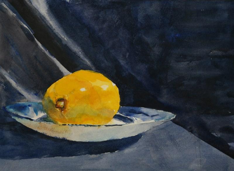 """""""Lemon on Blue"""" original fine art by Karen Andrews"""