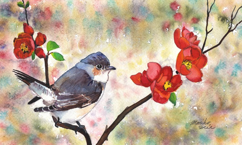 """Quince and a Bird"" original fine art by Mariko Irie"
