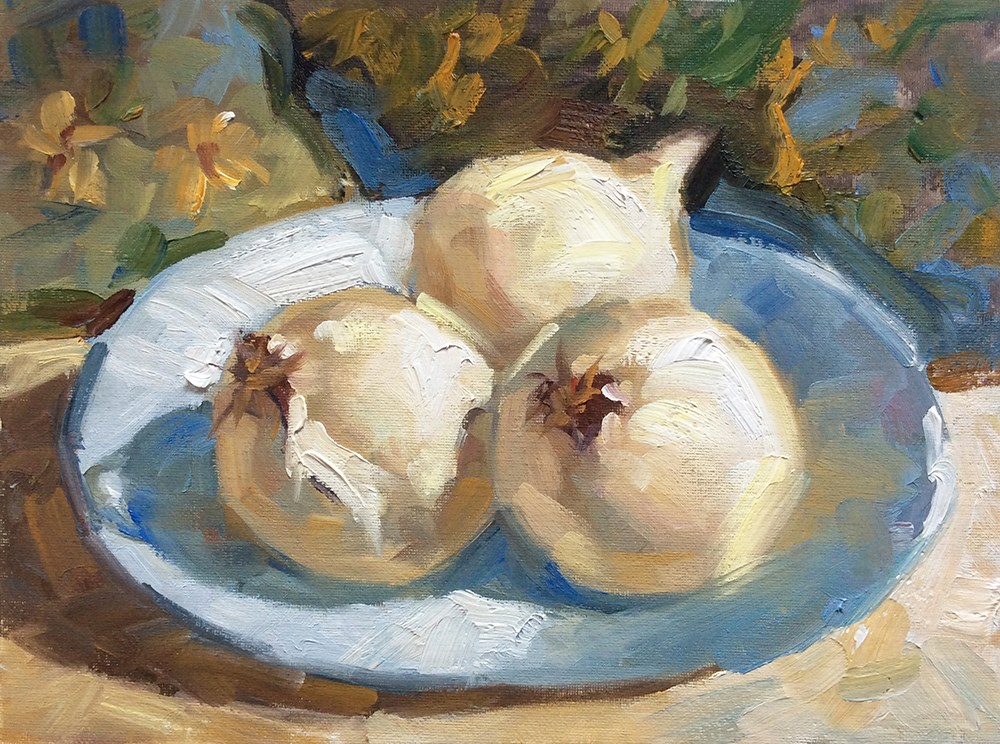 """THREE ONIONS"" original fine art by Tom Brown"