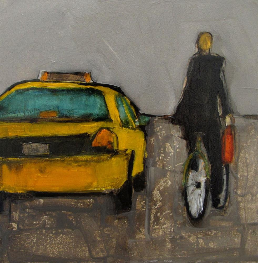 """TAXI - RIDER Original ABSTRACT FIGURE PORTAIT Art Painting OIL"" original fine art by Colette Davis"