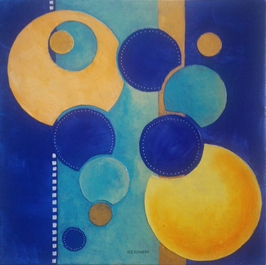 """Blue and Gold Composition"" original fine art by Elaine Lynest"