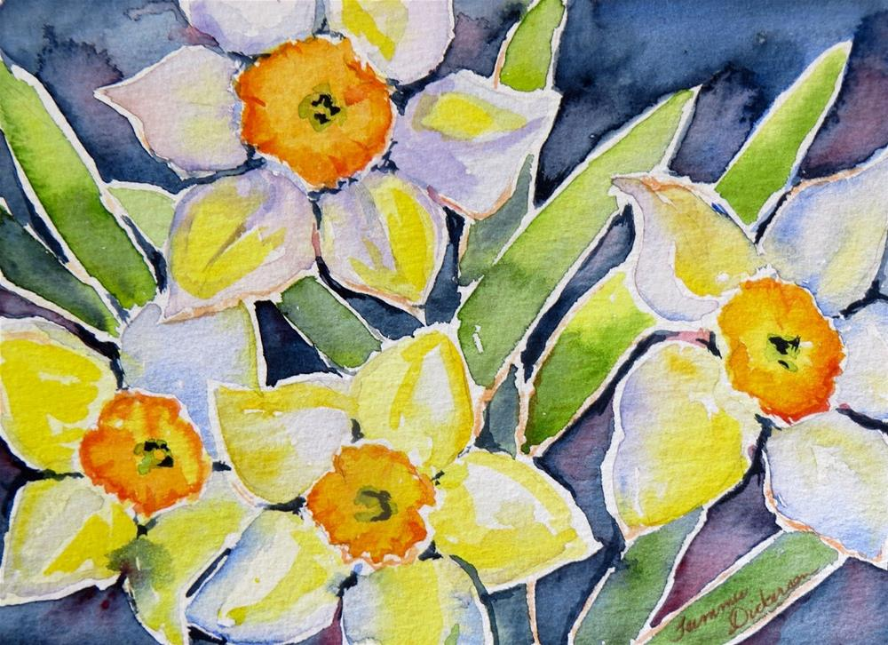 """Watercolor Daffodils"" original fine art by Tammie Dickerson"