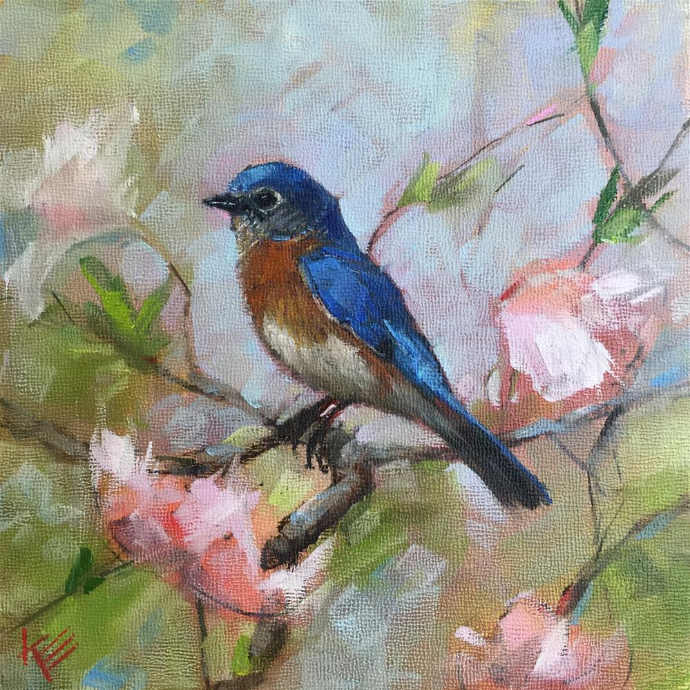 """Blue Bird on Magnolia branch"" original fine art by Krista Eaton"