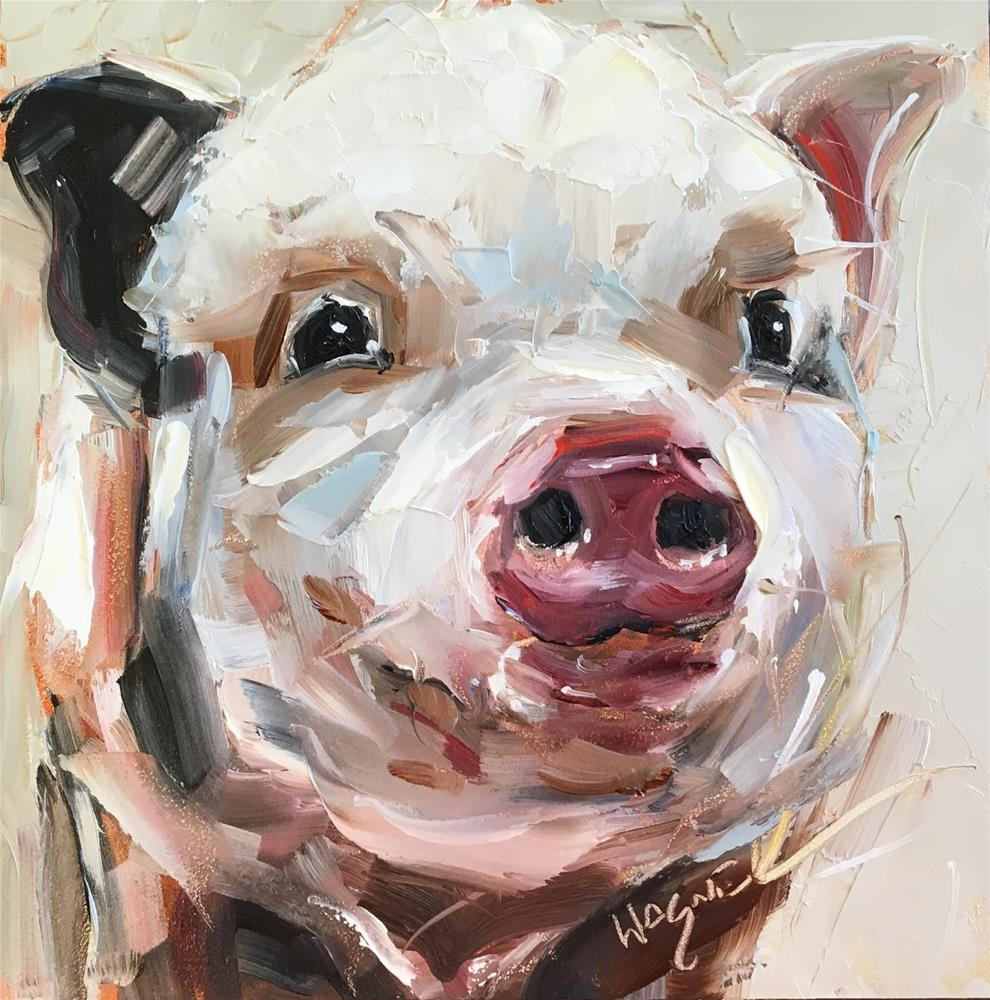 """ORIGINAL CONTEMPORARY PIG PAINTING in OILS by OLGA WAGNER - 12 DAYS OF GREY"" original fine art by Olga Wagner"