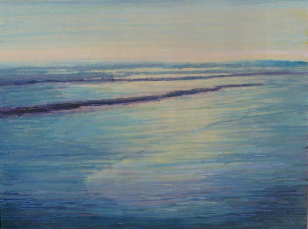 """Blanchard View,seascape,oil dripped on canvas,36x48,priceNFS"" original fine art by Joy Olney"