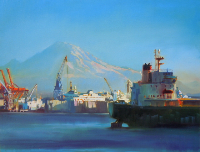 """Port of Seattle Seattle city scenes, marine scape oil painting"" original fine art by Robin Weiss"