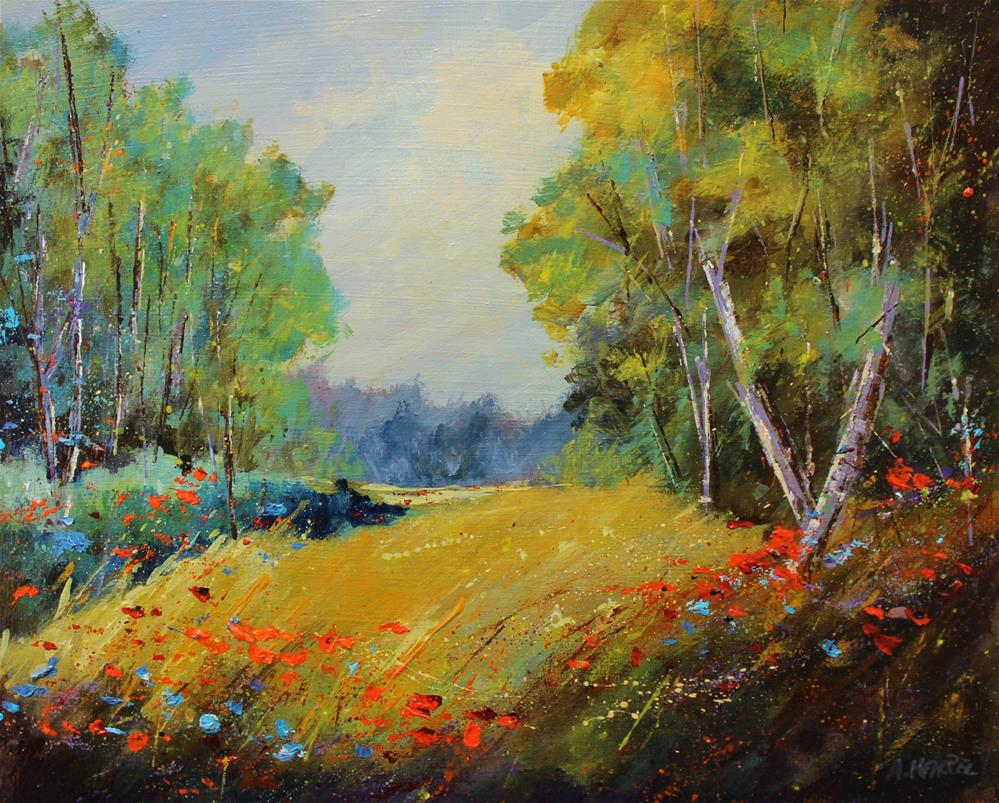 """Original acrylic landscape wildflower red poppy meadow painting"" original fine art by Alice Harpel"