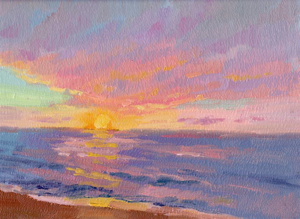 """SUNRISE PEACH GLOW"" original fine art by Karen E Lewis"