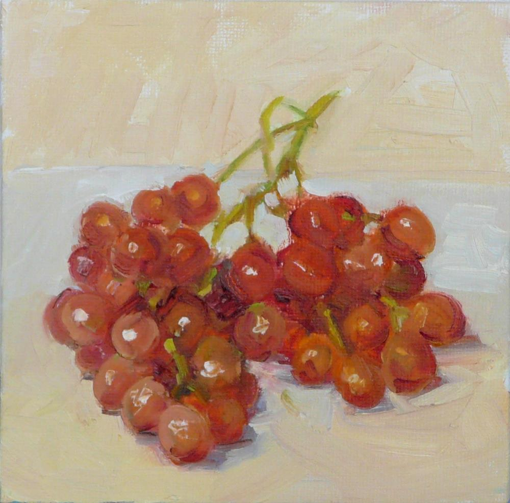 """Redish Grapes,still life,oil on canvas,6x6,price$200"" original fine art by Joy Olney"