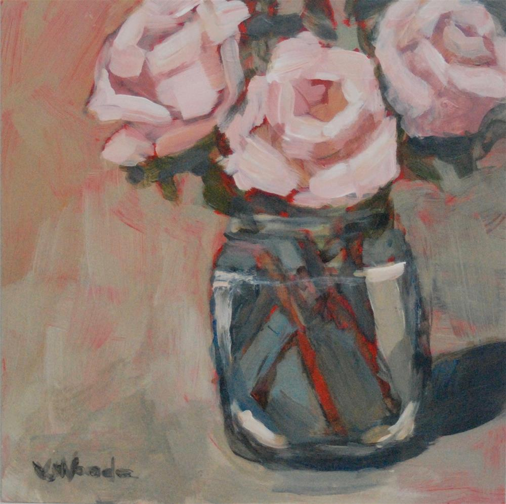 """Flowers on Red"" original fine art by Vicki Wood"