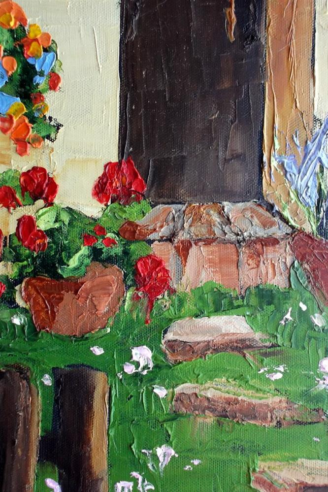 """Tuscan Courtyard Garden"" original fine art by lynne french"