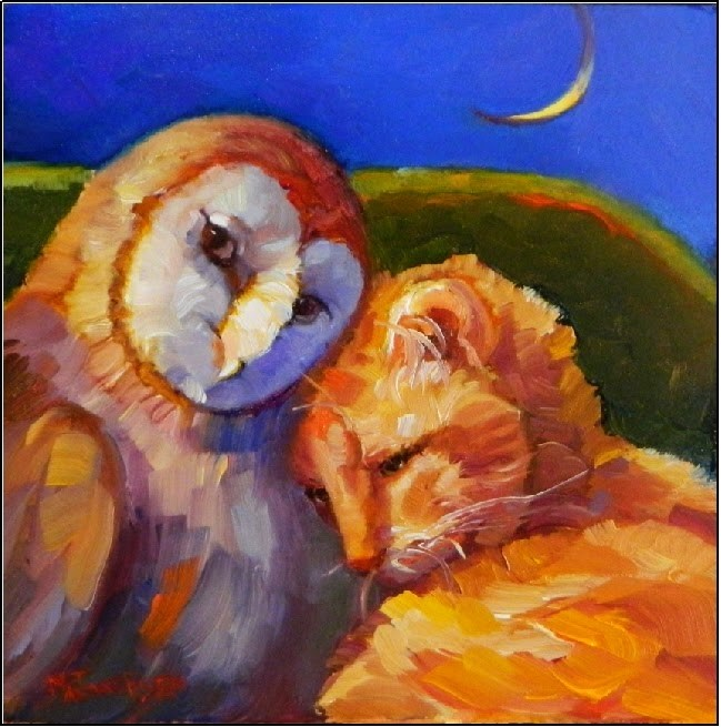 """The Owl and the Pussycat #2, 6x6 oil , nursery rhymes, bedtime stories, cats, owls, fantasy art, M"" original fine art by Maryanne Jacobsen"