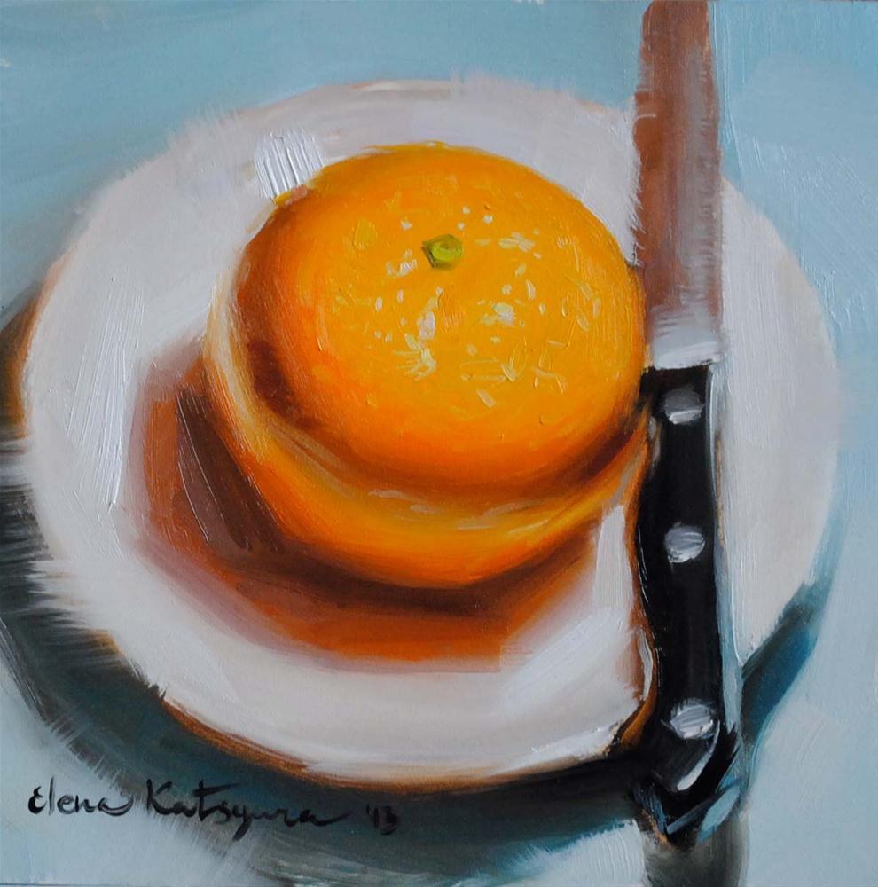 """""""Orange in the Blue"""" original fine art by Elena Katsyura"""
