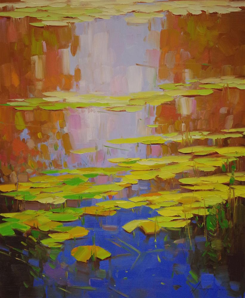 """Waterlilies Fall Original oil Painting Signed"" original fine art by V Y"