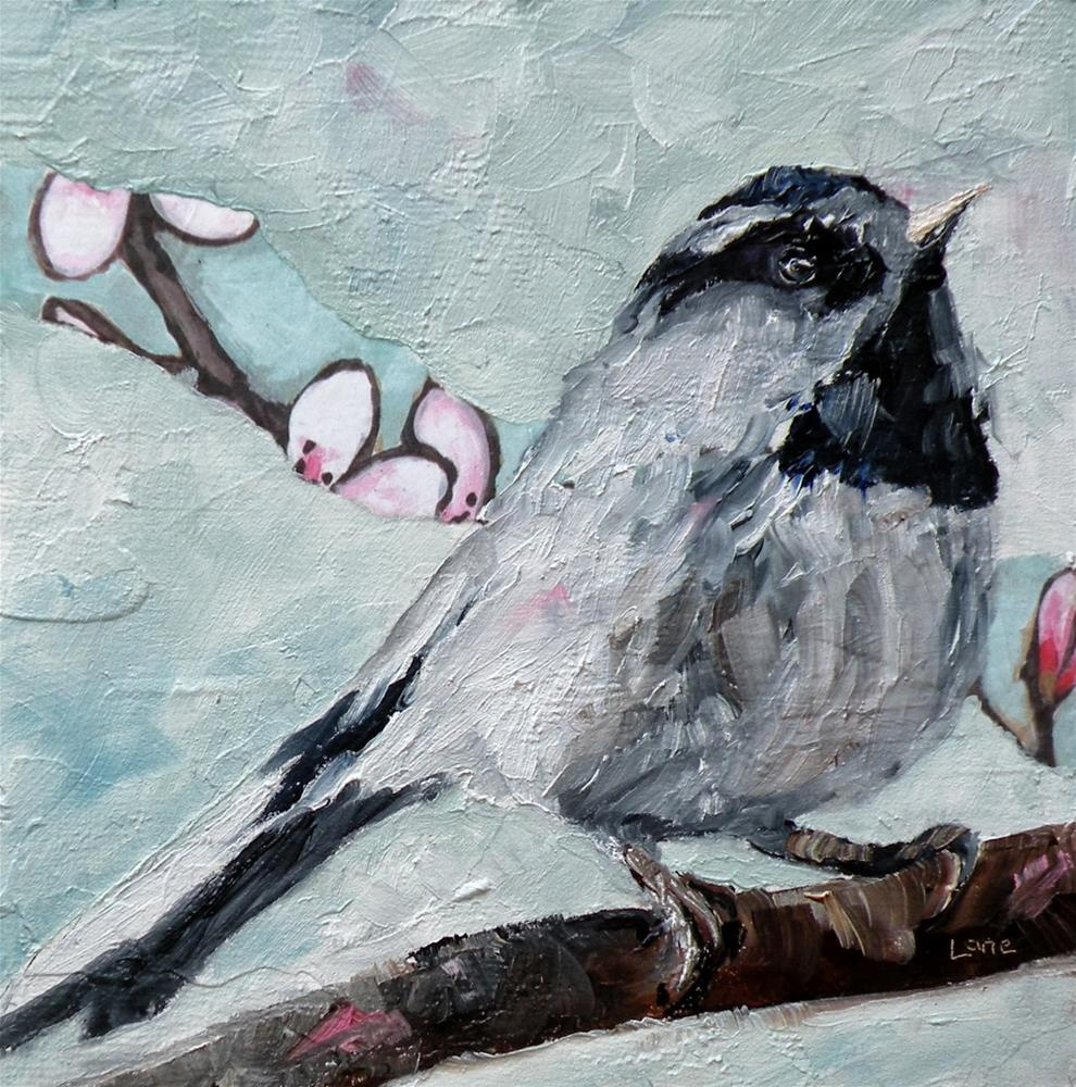 """CHICKADEE ORIGINAL OIL WITH PAPER ON CRADLED PANEL © SAUNDRA LANE GALLOWAY"" original fine art by Saundra Lane Galloway"