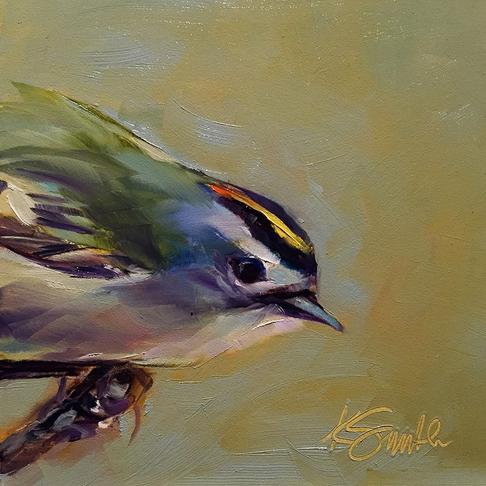 """golden crowned kinglet"" original fine art by Kim Smith"