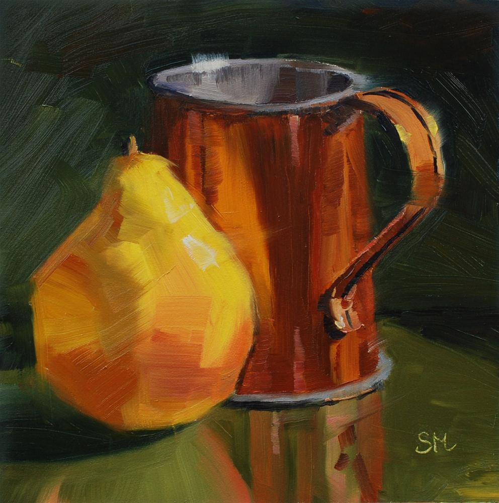 """Copper Cup with Pear"" original fine art by Susan McManamen"