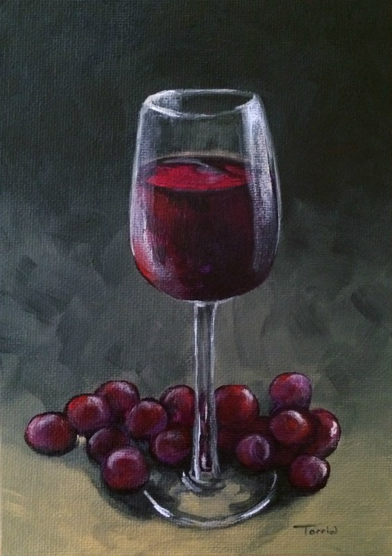 """Wine and Grapes"" original fine art by Torrie Smiley"