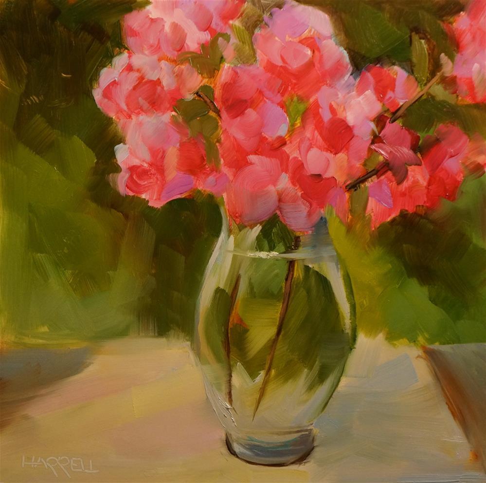 """Pink Azaleas"" original fine art by Sue Harrell"