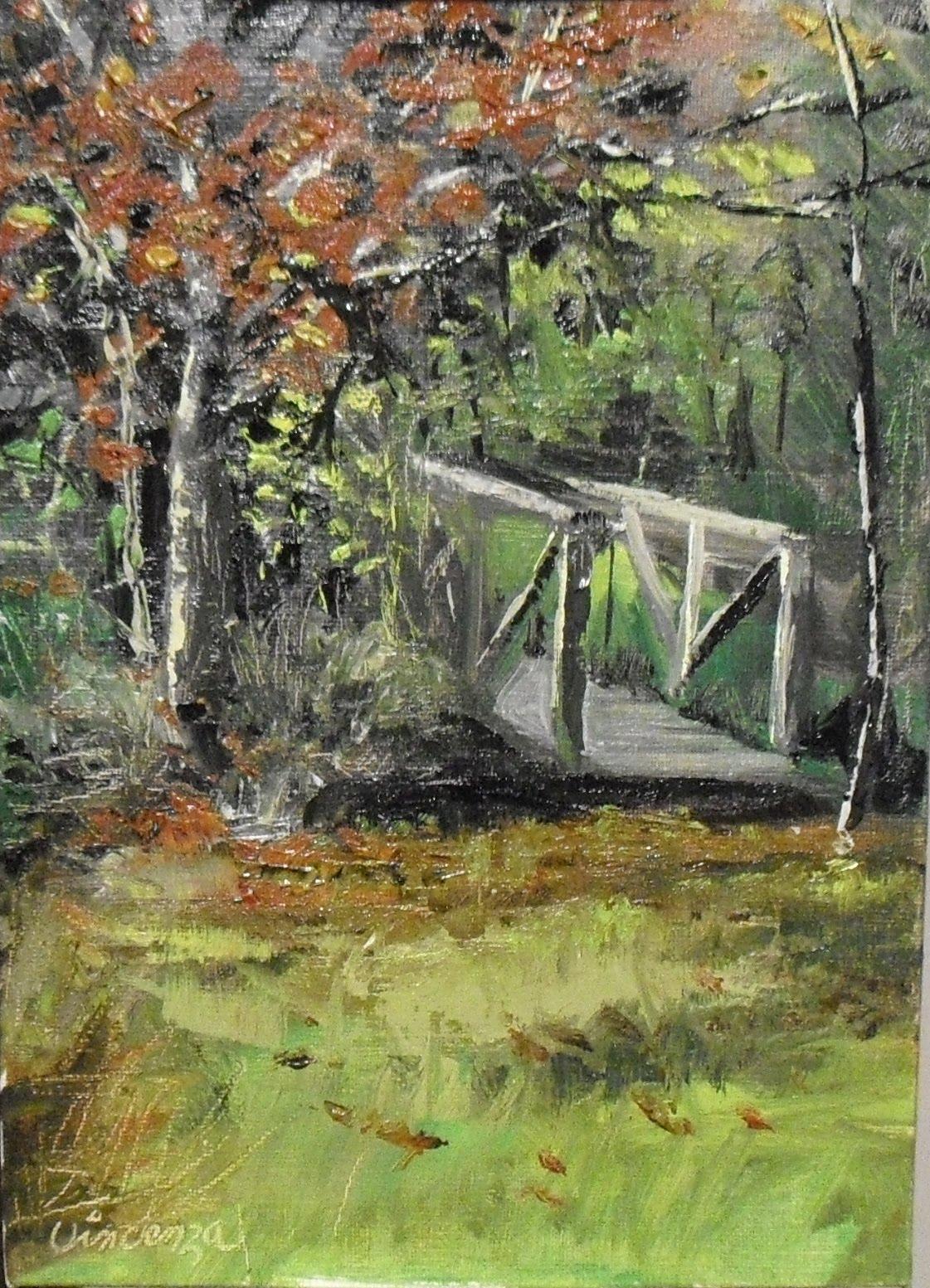"""""""Jeanne's Bridge  5x7 oil on linen panel"""" original fine art by Vincenza Harrity"""