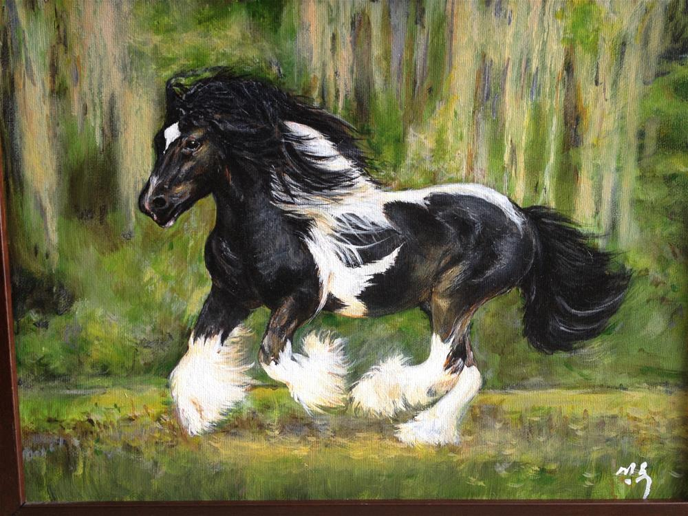 """running Clydesdale horse"" original fine art by Sun Sohovich"