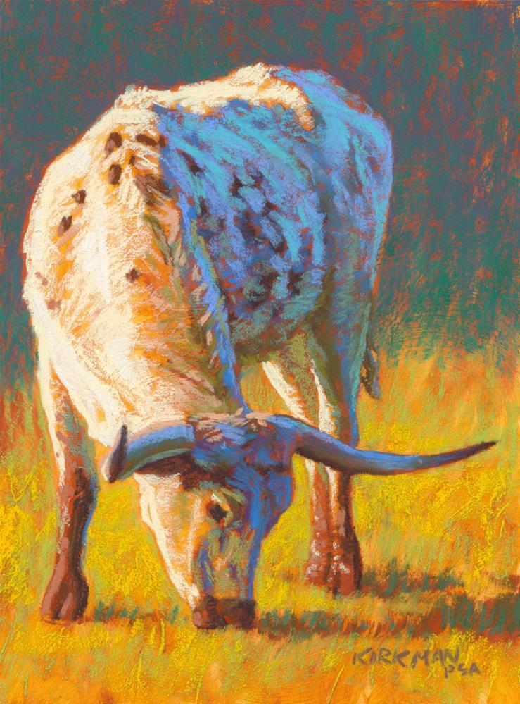 """Grazing Longhorn"" original fine art by Rita Kirkman"