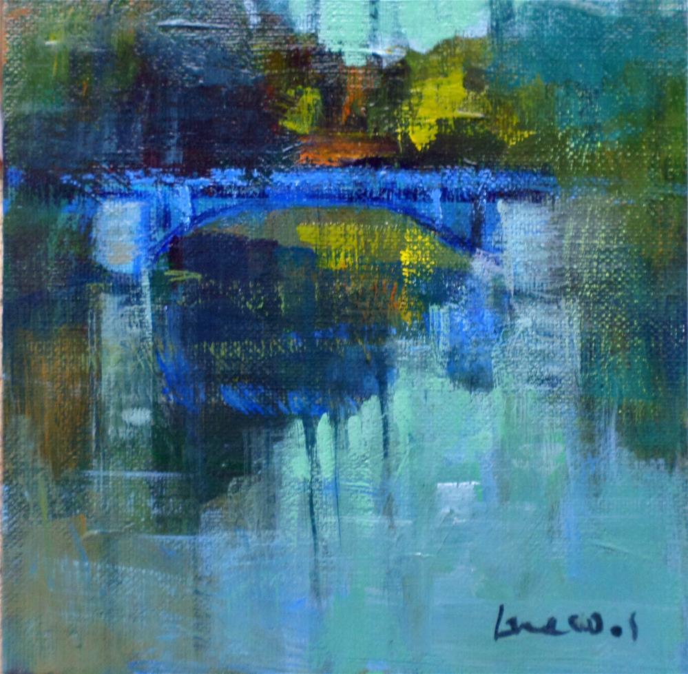 """""""The small blue bridge"""" original fine art by salvatore greco"""