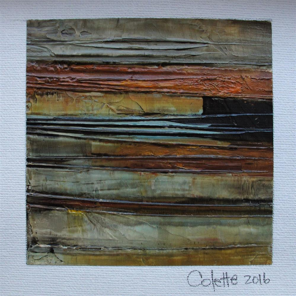 """ORIGINAL ABSTRACT PAINTING Texture Art Oil Canvas 4 X 4 with 8 x 10 mat"" original fine art by Colette Davis"