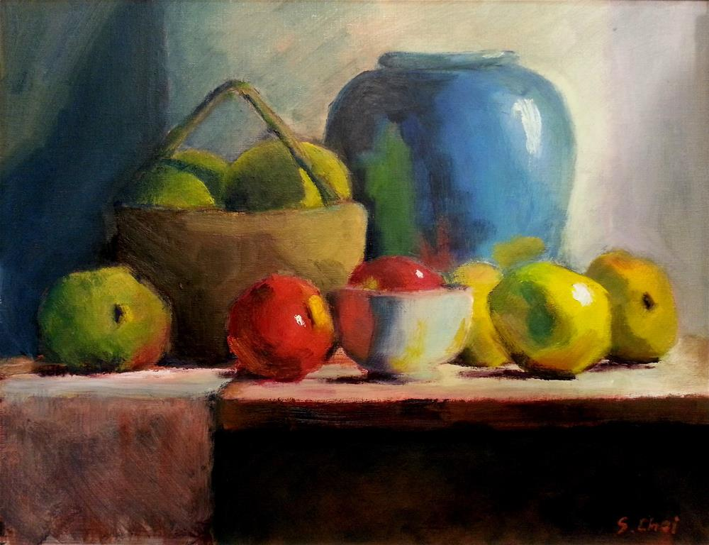 """Blue Vase with quinces"" original fine art by Sunkyung Choi"