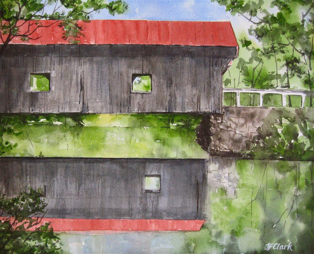"""Waterloo Covered Bridge, Warner NH"" original fine art by Judith Freeman Clark"