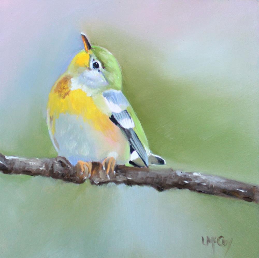 """Northern Parula, Bird Oil Painting"" original fine art by Linda McCoy"