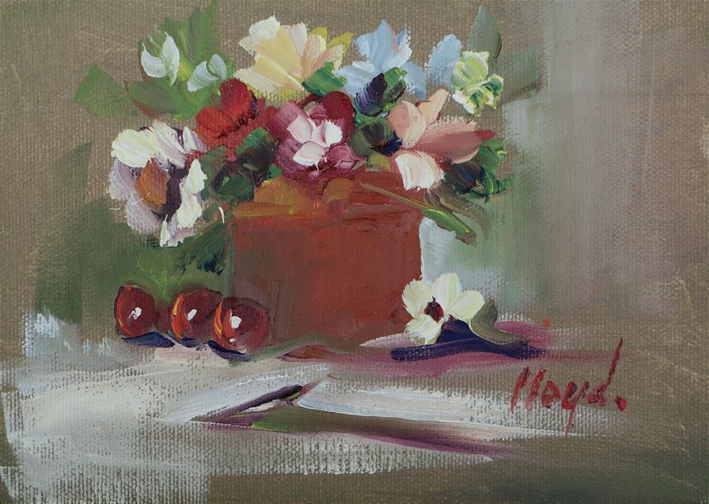 """Three Cherries and a Petal"" original fine art by Diane Lloyd"