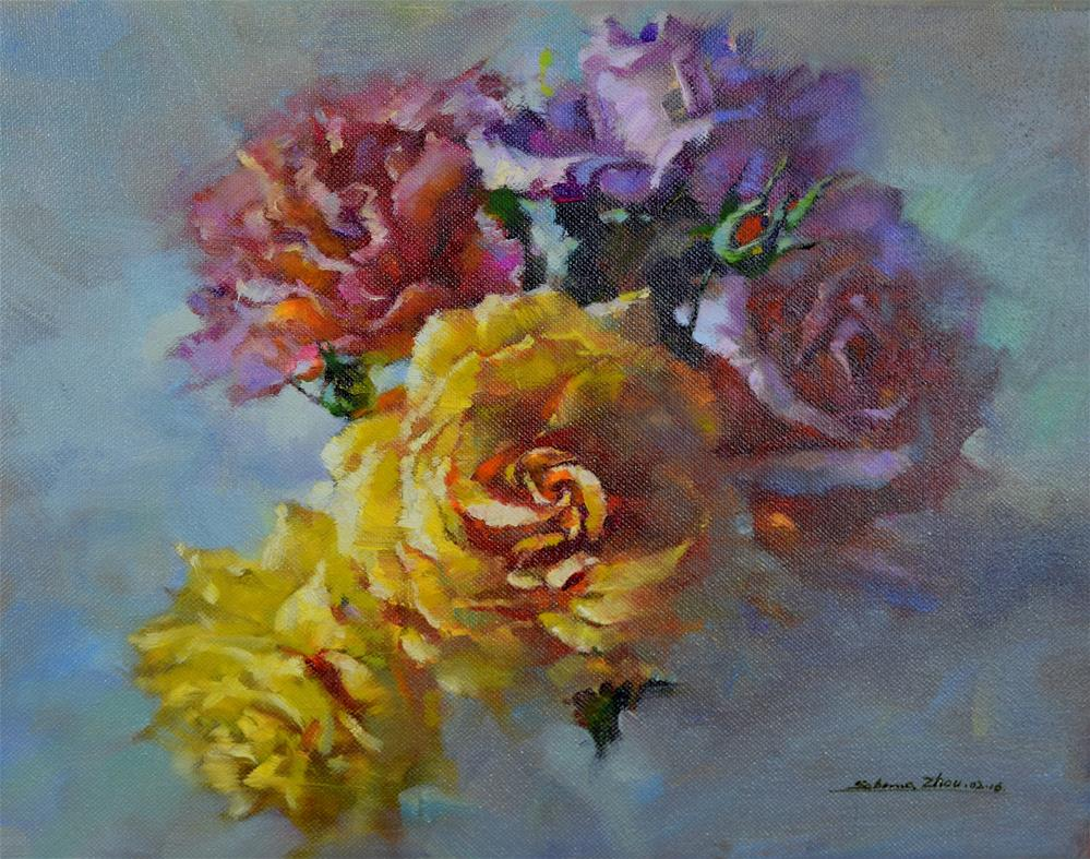 """Summer Roses"" original fine art by Sabrina Zhou"