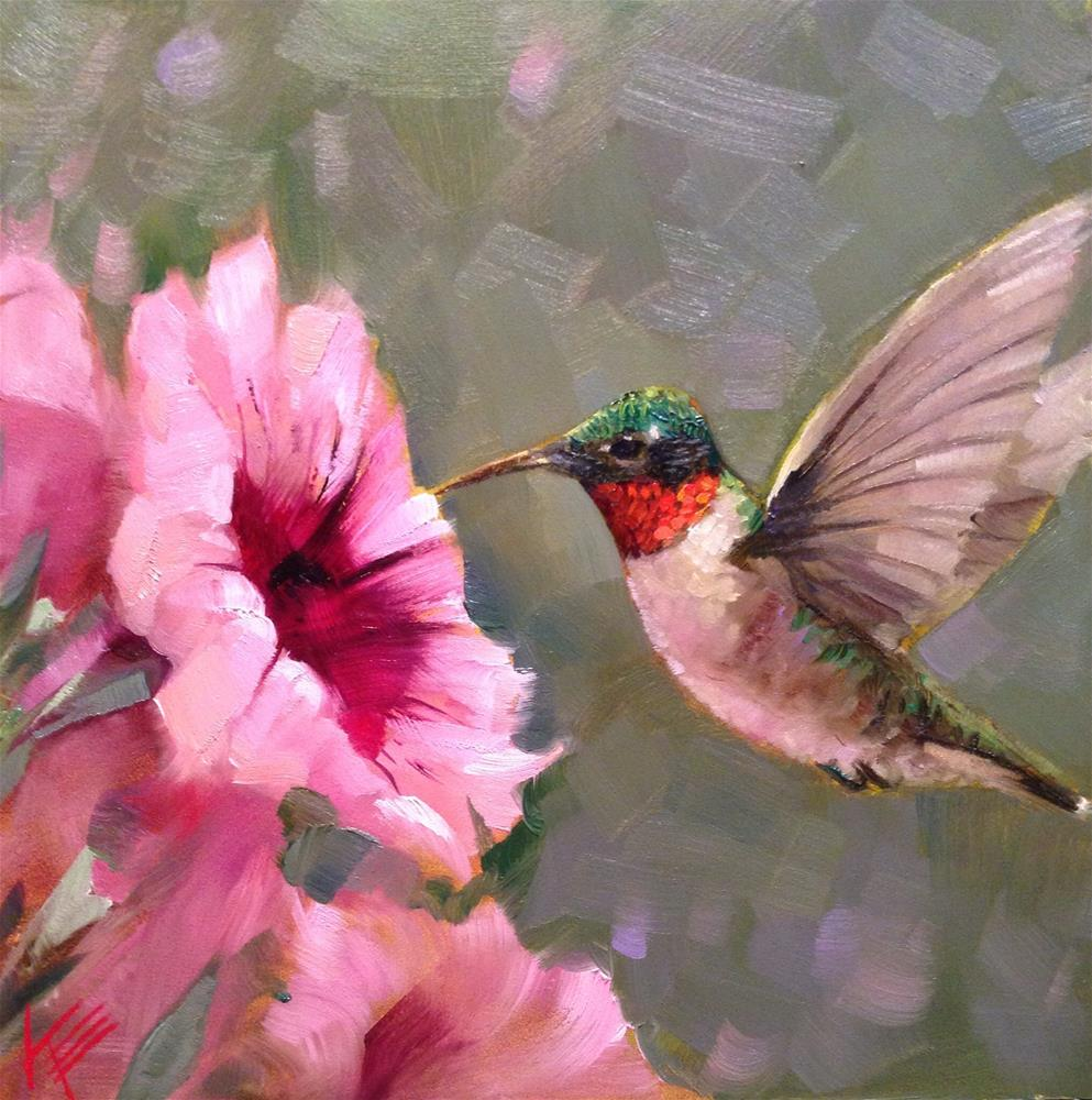 """Petunias and Hummingbird"" original fine art by Krista Eaton"
