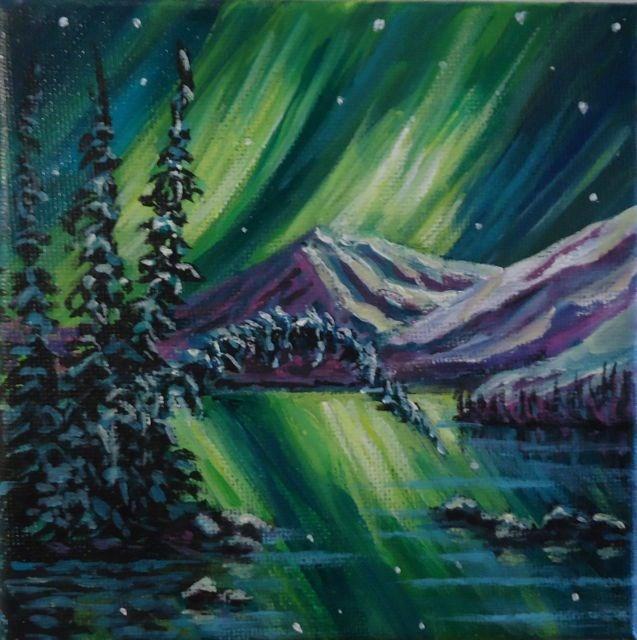 """Aurora Borealis 2014 No. 1"" original fine art by Jackie Irvine"
