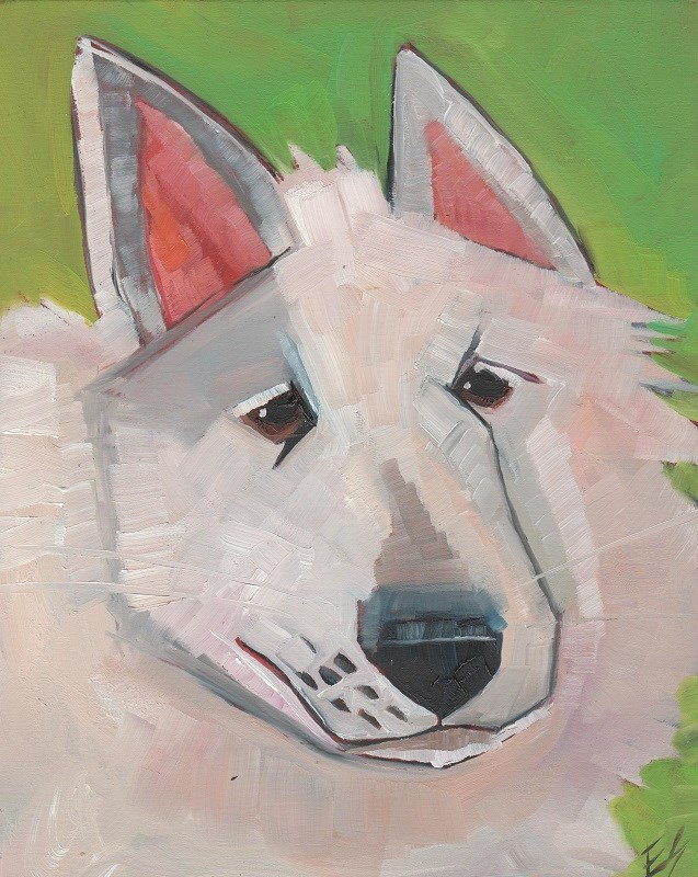 """White Dog"" original fine art by Elizabeth See"