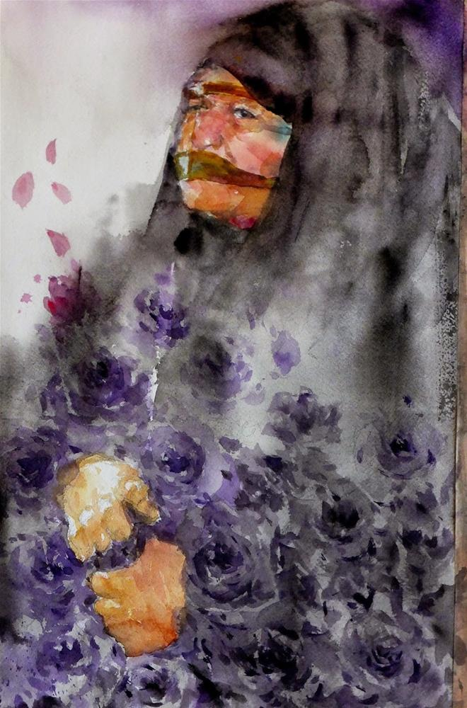 """Flower lady"" original fine art by Midori Yoshino"