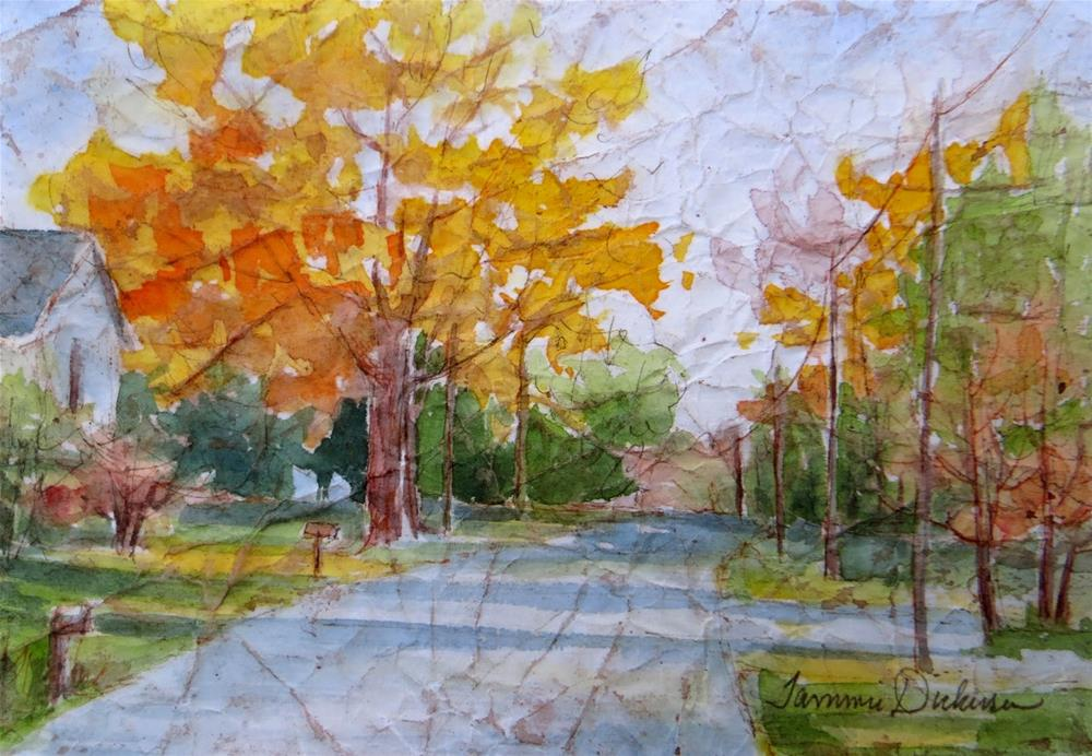 """Autumn on the River Road"" original fine art by Tammie Dickerson"
