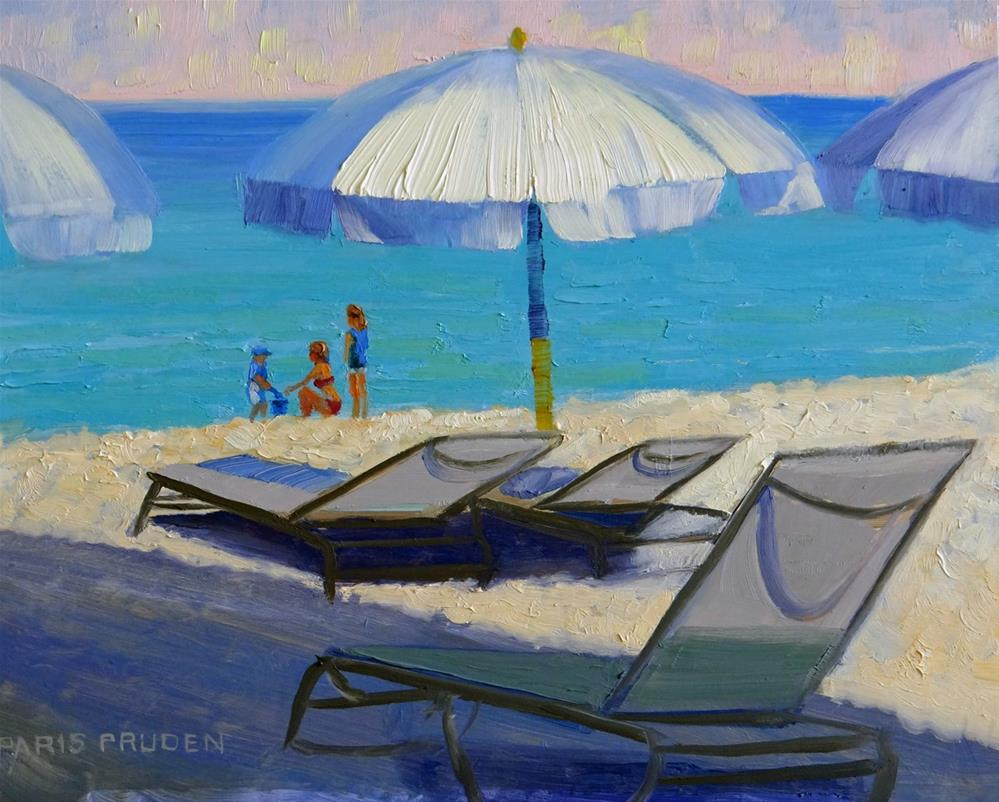 """Beach Umbrellas"" original fine art by Nancy Paris Pruden"