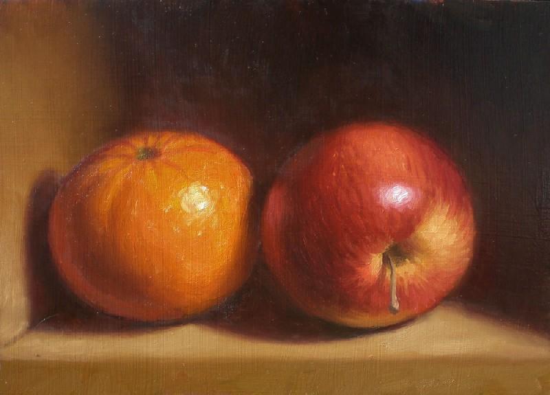 """Tangerine and Apple"" original fine art by Debra Becks Cooper"
