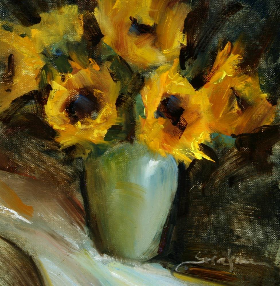 """Sunflowers in Vase"" original fine art by Scott Serafica"